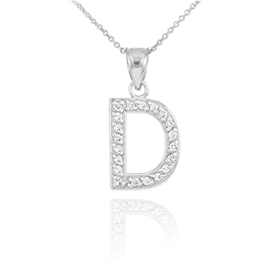 Amazon.com: Fine 14k White Gold Diamond Initial Letter D Pendant