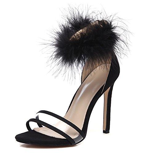 ZHUDJ Sandalias De Verano Sandalias Zapatillas De Felpa Felpa Peep Toe Heels con El Club,Negro,36 Thirty-six|black