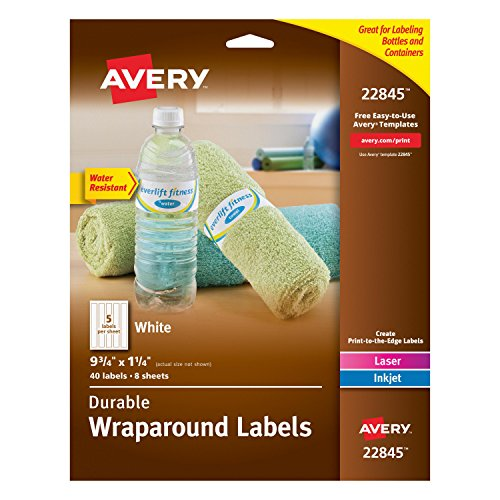 Avery Durable Waterproof Wraparound Water Bottle Labels, 1-1/4 x 9-3/4 Inches, Pack of 40 (22845)