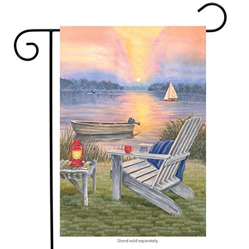 Waterfront Retreat Summer Garden Flag Sunset Adirondack Chai