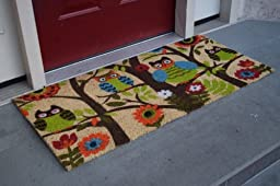 Kempf Forrest Owls Coco Door Mat with Vinyl Backing (22\