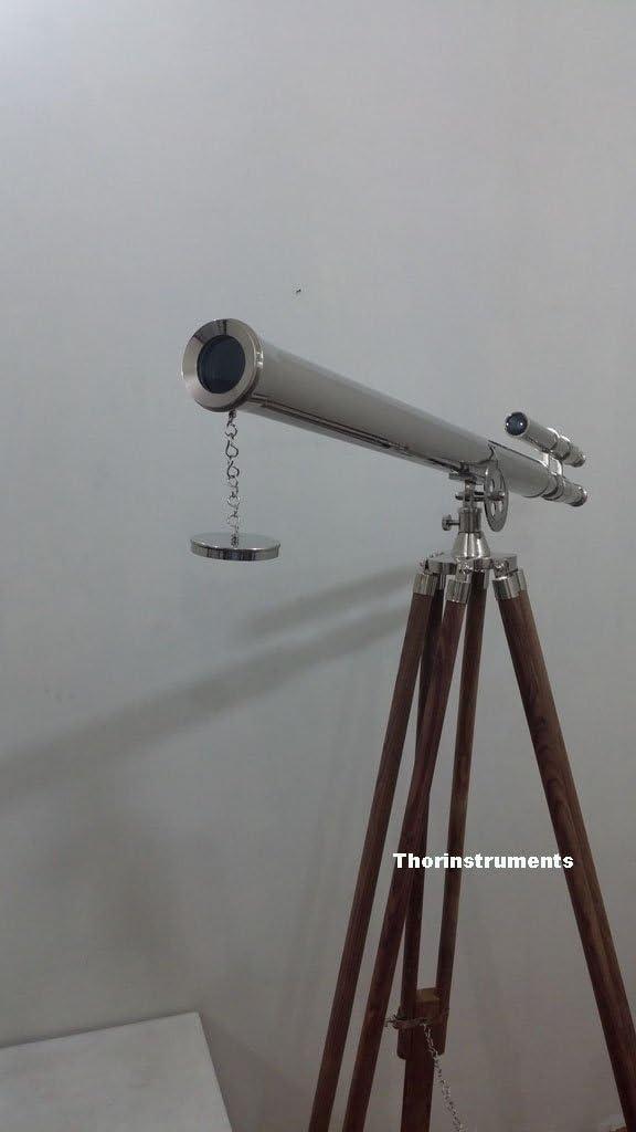 Beautiful Chrome Finish Double Barrel Telescope with Tripod Nautical Decor