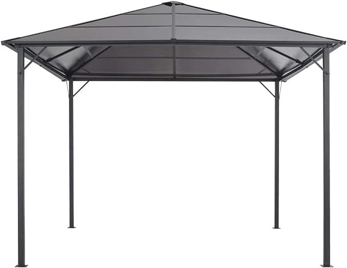 vidaXL Cenador con Tejado 3x3 m Aluminio Negro Marquesina Carpa Toldo Pérgola Glorieta: Amazon.es: Hogar