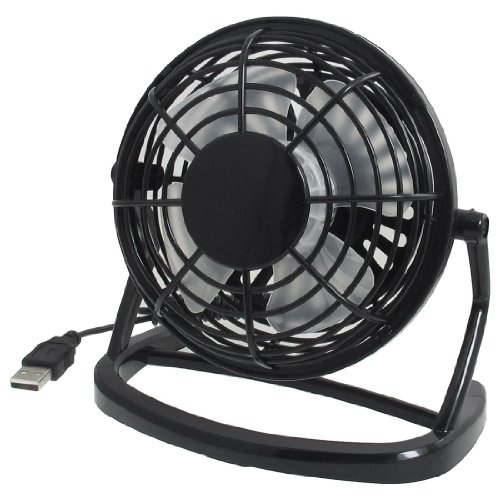 uxcell® Adjustable Angle Black Plastic USB Mini Desk Fan for Notebook