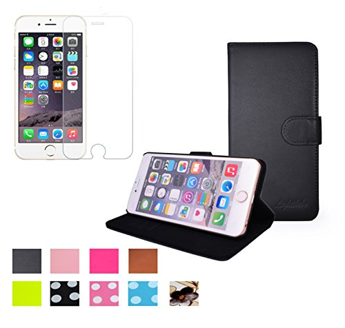 iPhone 6 Plus Case, + Tempered Glass Screen Protector, Lightthebo iPhone 6 Plus Leather Case With Card Slots, Stand and Slim Wallet Book Cover For the Apple iPhone 6 Plus (Black)