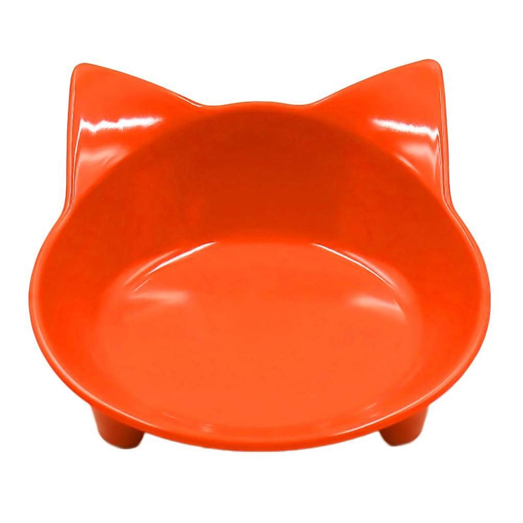 orange Pet Feeder Cat Face Shape Anti Slip Bowl Puppy Kitten Food Drink Water Tilted Feeder Pets Supplies (color   orange)