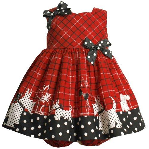 Bonnie Jean NEWBORN/INFANT 3M-24M 2-Piece WOVEN CHECK PRINT Scottie Puppy Dot BORDER Girl Party Dress