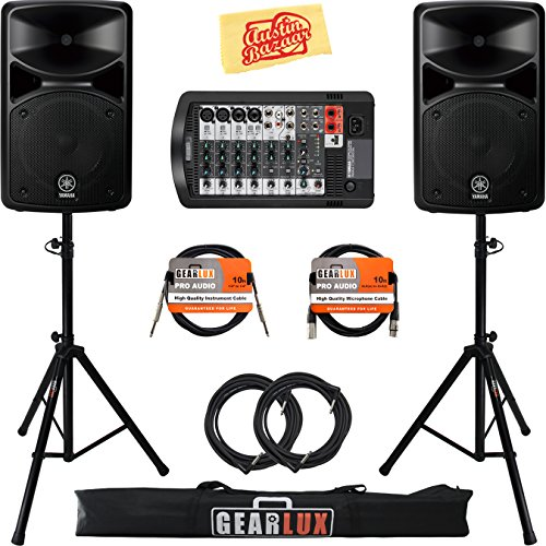 Yamaha STAGEPAS 400i Portable PA System Bundle with Speaker Stands, XLR Cable, Instrument Cable, and Austin Bazaar Polishing Cloth