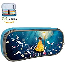 Cartoon Pencil Case Pen Bag Makeup Pouch Durable Students Print Various Stationery With Double Zipper