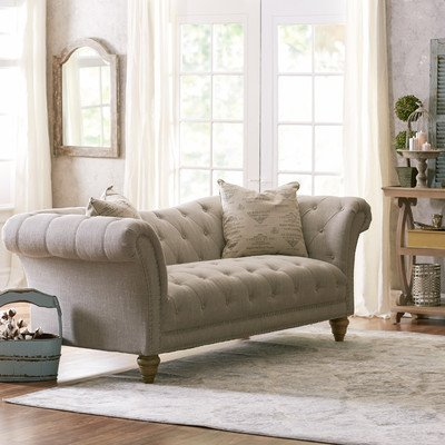 Tufted Sofa 92″ by Versailles Collection with Wooden Frame, Pocket Coil Spring and Chrome Nail Head Trim, Best for Living Room