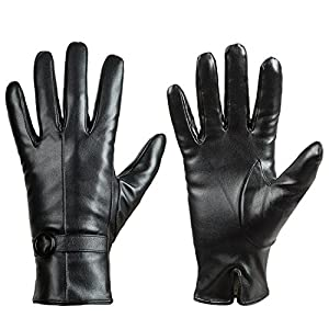 Womens Winter Leather Touchscreen Texting Warm Driving Lambskin Gloves 100% Pure Black Large