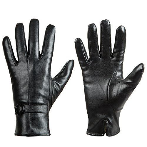 Womens Winter Leather Touchscreen Texting Warm Driving Lambskin Gloves 100% Pure (M) - Black Leather Riding Gloves