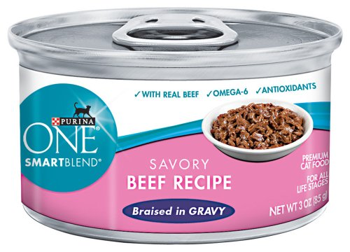 Purina ONE Cat Food Savory Beef Recipe Braised in Gravy, 3-Ounce (Pack of 24), My Pet Supplies