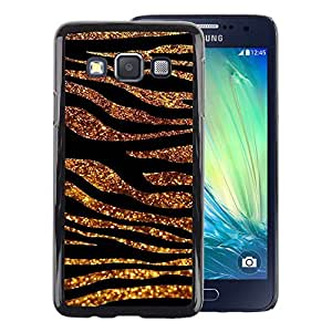 A-type Arte & diseño plástico duro Fundas Cover Cubre Hard Case Cover para Samsung Galaxy A3 (Gold Black Lines Glitter Zebra Fur Animal)