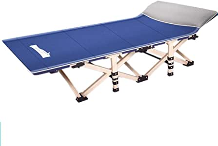 Loungers Folding Bed Single Bed Simple Folding Bed Camping Bed Adult Bed Siesta Lounge Office Lounge Chair (Color : Blue, Size : 190 * 71 * 36cm)