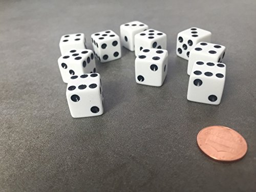 Set of 10 Six Sided D6 16mm Standard Dice Die - White with Black Pips Bunco Dice Set