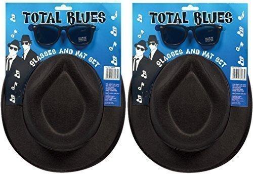 2 x totalmente blues soul FASCIA Gangster Cappelli & OCCHIALI accessorio per costume Henbrandt H38 163