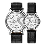 Ultrathin Leather Romantic Pair His and Hers Wrist Watches Sets for Couples White Set of 2