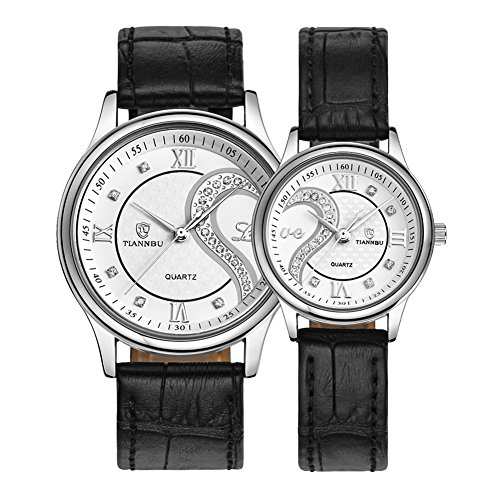 Ultrathin Leather Romantic Pair His and Hers Wrist Watches Sets for Couples White Set of 2 by DREAMING Q&P