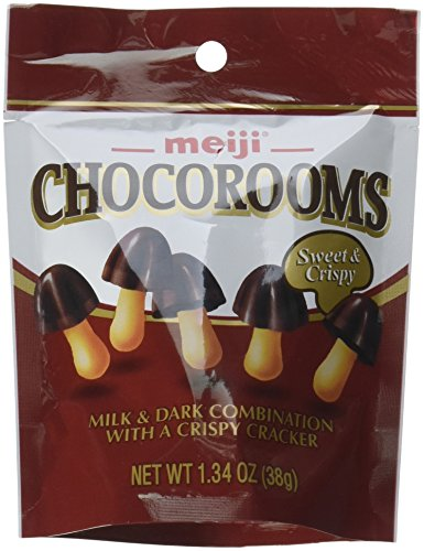 Meiji Chocorooms Light & Dark Combination with Crispy Cracker 1.34 oz Pouch (Pack of 12) (Mushroom Cap Candy)
