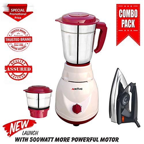 Activa 500 Watt Pluto Full Abs Shock Proof Body 2 Jar Mixer Grinder with Free Electric Dry Iron (White)