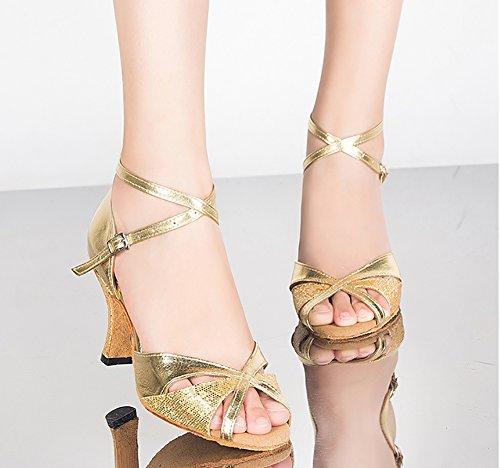 Zapatos Mediados De Latino Blando Lado Zapatos Mujeres Baile Tacones Zapatos Fondo Baile De Baile Brillante De Dorado De Salón WYMNAME Modernos YnWZOxqwx