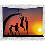 Ambesonne Teen Room Decor Tapestry, Boys Playing Basketball at Sunset Horizon Sky Dramatic Scene, Wall Hanging for Bedroom Living Room Dorm, 60 W X 40 L Inches, Dark Coral Black Yellow