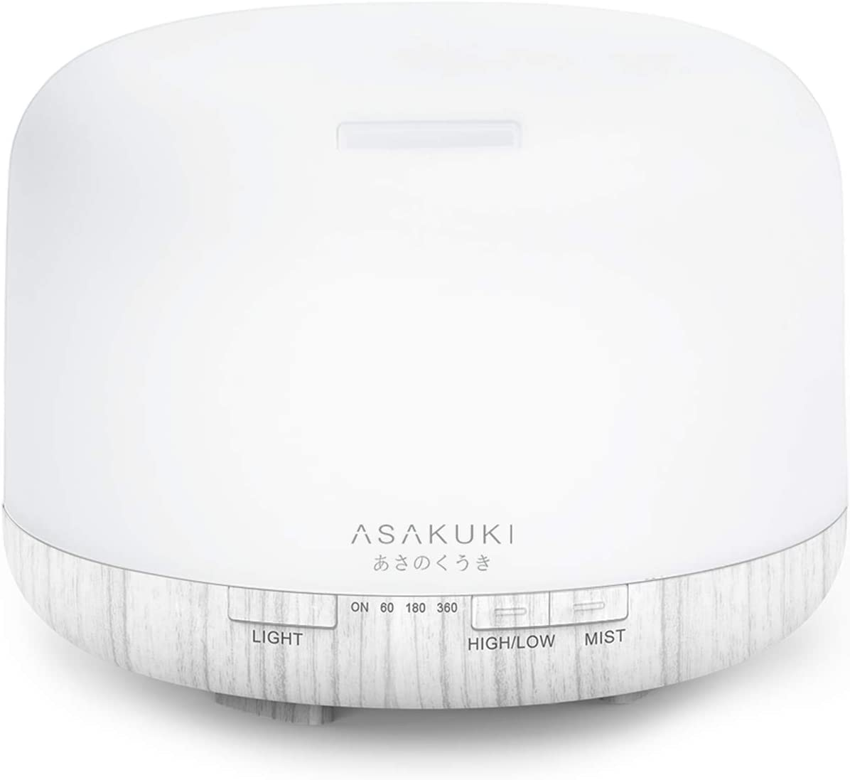 ASAKUKI 500ml Premium Essential Oil Diffuser, 5 In 1 Ultrasonic Aromatherapy Fragrant Oil Vaporizer Humidifier, Purifies The Air, Timer and Auto Off