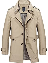 Mens Trench Coat Notch Lapel Slim Fit Single Breasted Windbreaker Jacket