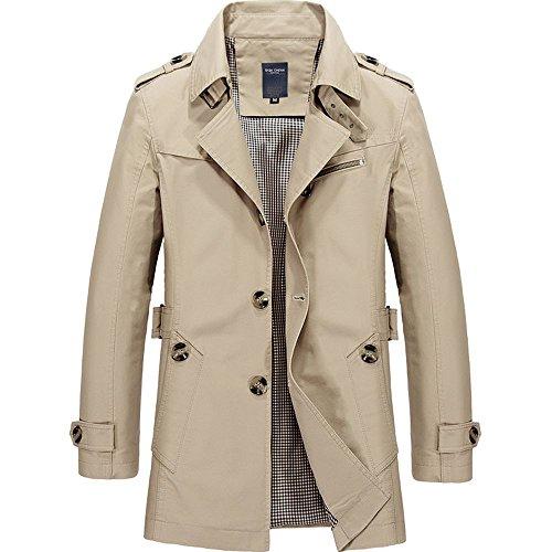 WEEN CHARM Mens Short Single Breasted Trench Coat Pea Coat Overcoat Windbreaker Jacket by WEEN CHARM