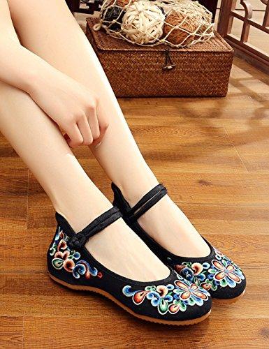 matinales Jane Zapatos de Flores Temporada Pisos Zapatos Zapatos Mary de Ejercicios de Negro Ocasionales Lona Bordados Ligeros Mujer Bailarines qCSFZFpnwx