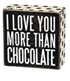 i love you more than chocolate - Primitives by Kathy Box Sign, I Love You More Than Chocolate, 4-Inch by 4-Inch