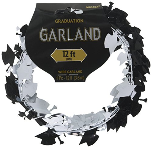 Amscan 22000 Metallic/Foil Graduation Cap Wire Garland, 12ft, Multicolor