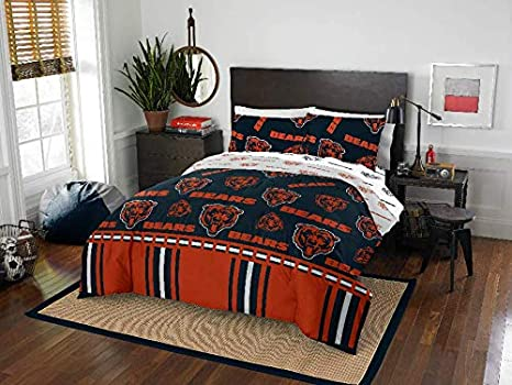00ff4488 NFL Chicago Bears Full Comforter & Sheets (5 Piece Bed In A Bag)