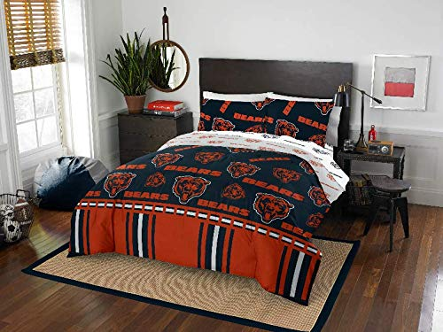 Chicago Sheet Full Bears Set (5 Piece NFL Chicago Bears Comforter Full Set, Sports Patterned Bedding, Featuring Team Logo, Fan Merchandise, Team Spirit, Football Themed, National Football League, Blue, Orange, Unisex)