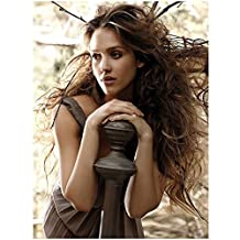 Jessica Alba Modeling with Wind Blown Hair Leaning on Giant Chess Piece 8 x 1...