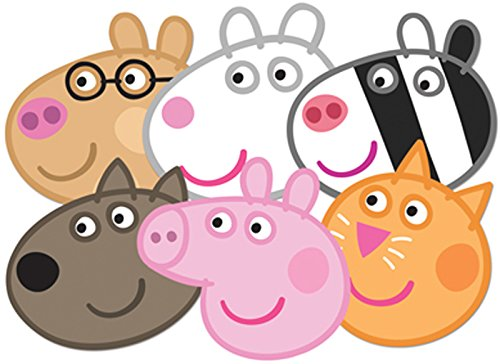 Star Cutouts SMP91 Pig Party 6 Pack-Peppa, Zoe, Suzie, Candy, Dany & Pedro Dany/Pedro Mask, One -