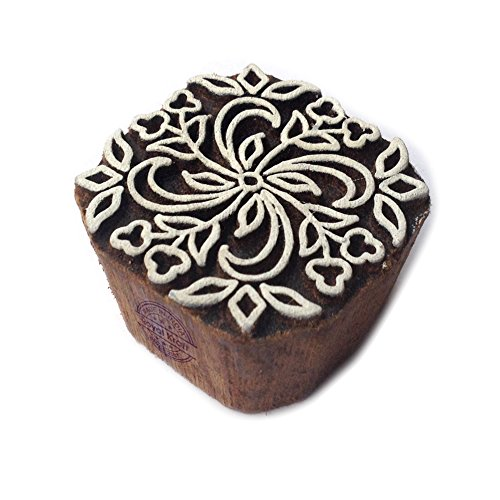 Abstract Square Floral Design Block Print Wood Stamp ()