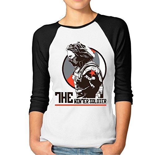 (SUPERMORE Bucky Barnes The Winter Soldier Women's 3/4 Sleeve 100% Cotton Baseball Tee/T Shirts Black)