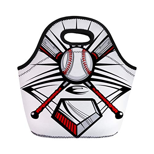 Semtomn Neoprene Lunch Tote Bag Softball Baseball Bats and Ball Graphic Plate Home Base Sport Reusable Cooler Bags Insulated Thermal Picnic Handbag for Travel,School,Outdoors, Work