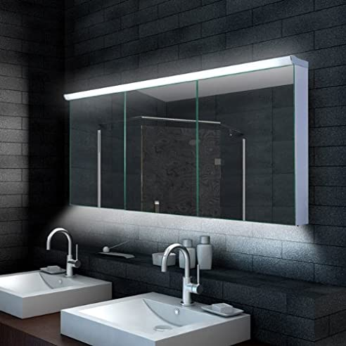 Lux-aqua Design Badezimmer Spiegelschrank mit LED Beleuchtung 160 ...