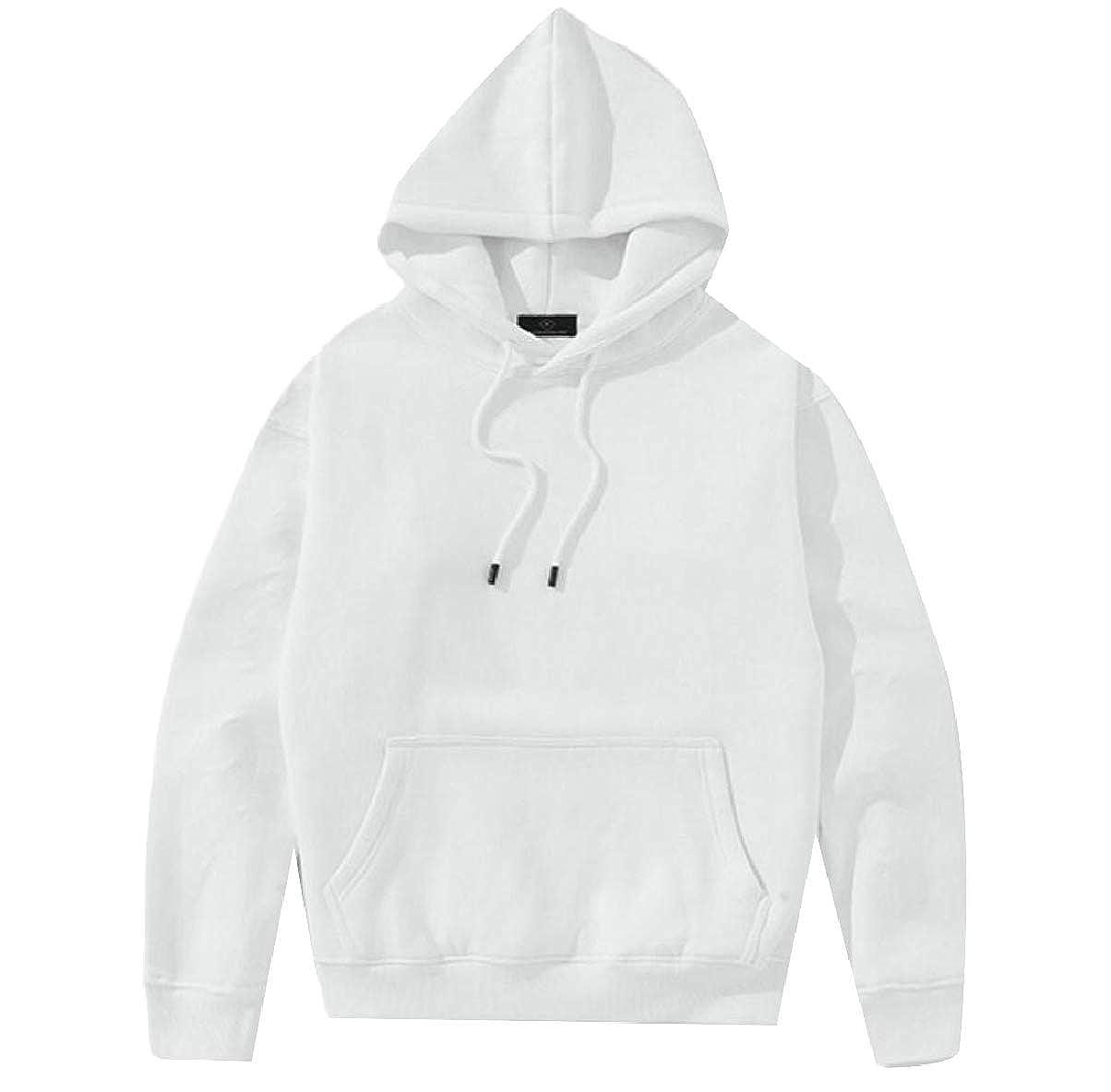 ZXFHZS Mens Solid Color Casual Thicken Warm Hoodie Sports Sweatshirt Pullover