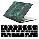 iZi Way Cute Design, Plastic Hard Shell Case with Black Keyboard Cover for Apple Laptop MacBook Air 11 Inch (Models: A1370 & A1465), Palm Leaf