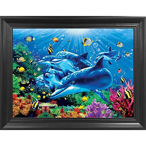 Dolphin 3D Poster Wall Art Decor Framed Print | 14.5x18.5 | Lenticular Posters & Pictures | Memorabilia Gifts for Guys & Girls Bedroom | Animals in Underwater Ocean Scene Picture