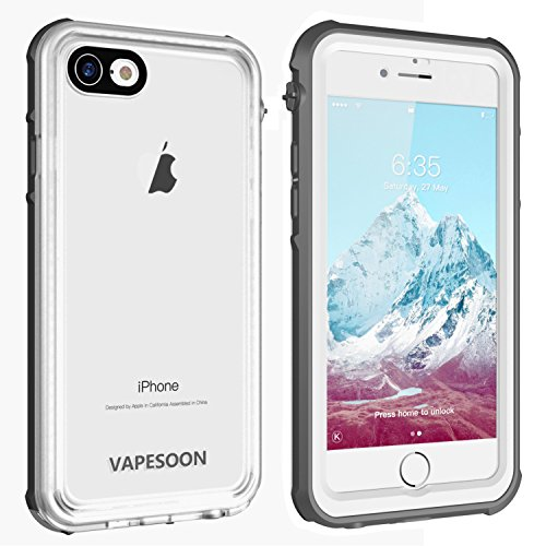 iPhone 7 / iPhone 8 Waterproof Case ?Vapesoon Waterproof Shockproof Snowproof Clear Case Compatible iPhone 7 / iPhone 8- Gray+White/Transparent(4.7inch)