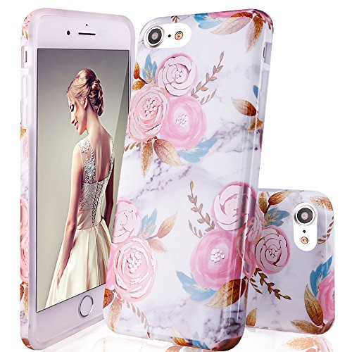 DOUJIAZ iPhone 8 Case,iPhone 7 Case, Marble Design Clear Bumper TPU Soft Case Rubber Silicone Skin Cover for Apple iPhone 7/8 -Pink Flowers