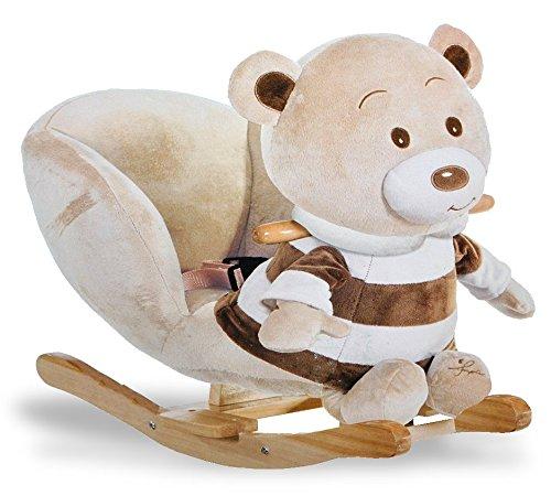 XL Plüsch und Holz Schaukelpferd - Teddybär mit Einstieghilfe und Sicherheitsgurt - Schaukeltier Kind Schaukel Schaukelbär braun Tier Tiere Plüschschaukel für Kinder Mädchen Jungen