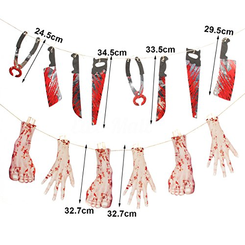 PiggiesC Spooky Halloween Party Haunted House Hanging Garland Pennant Banner Decoration (1) (Pop Art Halloween Costume Couple)