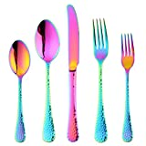 20-Piece Flatware Silverware Set, Bisda Rainbow Stainless Steel Cutlery Sets, Multipurpose Use for Home, Kitchen, Restaurant, Hotel Tableware Utensil Service for 4 …