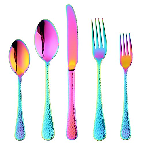 - 20-Piece Flatware Silverware Set, Bisda Rainbow Stainless Steel Cutlery Sets, Multipurpose Use for Home, Kitchen, Restaurant, Hotel Tableware Utensil Service for 4